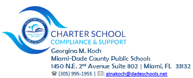 Contact Georgina M. Koch for Compliance and Support. 305-995-1955 ginakoch@dadeschools.net